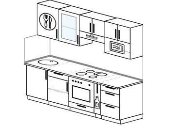 Планировка прямой кухни 5,0 м², 220 см (зеркальный проект): верхние модули 72 см, встроенный духовой шкаф, корзина-бутылочница, модуль под свч