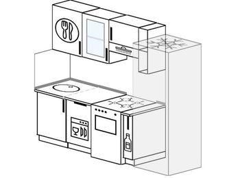 Прямая кухня 5,0 м² (2,2 м), верхние модули 72 см, посудомоечная машина, холодильник, отдельно стоящая плита