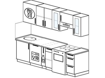 Планировка прямой кухни 5,0 м², 2200 мм (зеркальный проект): верхние модули 720 мм, посудомоечная машина, корзина-бутылочница, отдельно стоящая плита