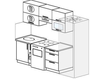 Планировка прямой кухни 5,0 м², 220 см (зеркальный проект): верхние модули 72 см, корзина-бутылочница, отдельно стоящая плита, холодильник