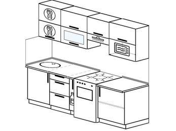 Планировка прямой кухни 5,0 м², 220 см (зеркальный проект): верхние модули 72 см, корзина-бутылочница, отдельно стоящая плита, верхний модуль под свч