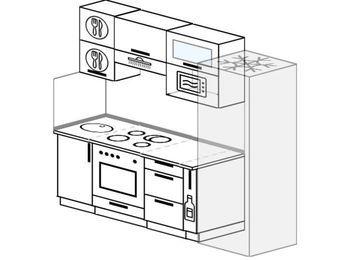 Прямая кухня 5,0 м² (2,2 м), верхние модули 72 см, верхний модуль под свч, встроенный духовой шкаф, холодильник
