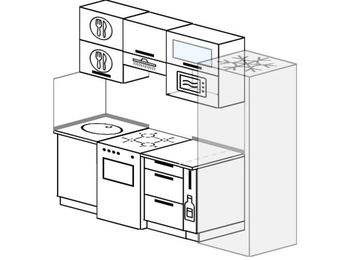 Прямая кухня 5,0 м² (2,2 м), верхние модули 72 см, верхний модуль под свч, холодильник, отдельно стоящая плита