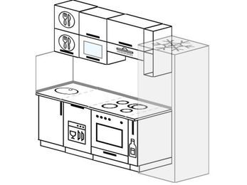 Планировка прямой кухни 5,0 м², 220 см (зеркальный проект): верхние модули 72 см, посудомоечная машина, встроенный духовой шкаф, корзина-бутылочница, холодильник