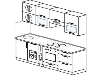 Планировка прямой кухни 5,0 м², 220 см (зеркальный проект): верхние модули 72 см, посудомоечная машина, корзина-бутылочница, встроенный духовой шкаф