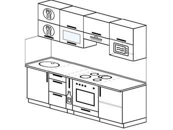 Планировка прямой кухни 5,0 м², 220 см (зеркальный проект): верхние модули 72 см, корзина-бутылочница, встроенный духовой шкаф, верхний модуль под свч