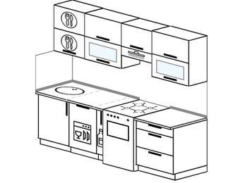Планировка прямой кухни 5,0 м², 220 см (зеркальный проект): верхние модули 72 см, посудомоечная машина, корзина-бутылочница, отдельно стоящая плита