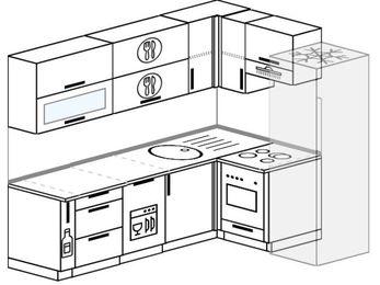 Планировка угловой кухни 6,2 м², 220 на 160 см (зеркальный проект): верхние модули 72 см, корзина-бутылочница, посудомоечная машина, встроенный духовой шкаф, холодильник