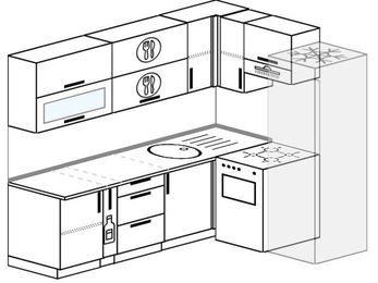 Планировка угловой кухни 6,2 м², 220 на 160 см (зеркальный проект): верхние модули 72 см, корзина-бутылочница, отдельно стоящая плита, холодильник