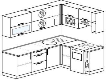 Угловая кухня 6,2 м² (2,2✕1,6 м), верхние модули 720 мм, верхний модуль под свч, отдельно стоящая плита