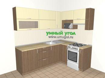 Угловая кухня МДФ матовый 6,2 м², 2200 на 1600 мм (зеркальный проект), Ваниль / Лиственница бронзовая, верхние модули 720 мм, верхний модуль под свч, отдельно стоящая плита