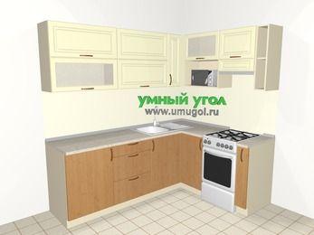 Угловая кухня из МДФ + ЛДСП 6,2 м², 2200 на 1600 мм (зеркальный проект), Ваниль / Ольха, верхние модули 720 мм, верхний модуль под свч, отдельно стоящая плита