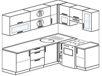 Угловая кухня 6,2 м² (2,2✕1,6 м), верхние модули 720 мм, отдельно стоящая плита