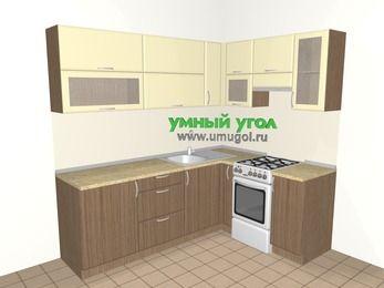 Угловая кухня МДФ матовый 6,2 м², 2200 на 1600 мм (зеркальный проект), Ваниль / Лиственница бронзовая, верхние модули 720 мм, отдельно стоящая плита