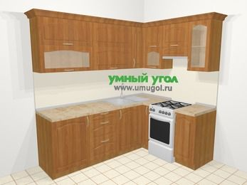 Угловая кухня МДФ матовый в классическом стиле 6,2 м², 2200 на 1600 мм (зеркальный проект), Вишня, верхние модули 720 мм, отдельно стоящая плита