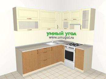 Угловая кухня из МДФ + ЛДСП 6,2 м², 2200 на 1600 мм (зеркальный проект), Ваниль / Ольха, верхние модули 720 мм, отдельно стоящая плита