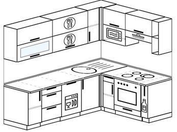 Угловая кухня 6,2 м² (2,2✕1,6 м), верхние модули 720 мм, посудомоечная машина, верхний модуль под свч, встроенный духовой шкаф