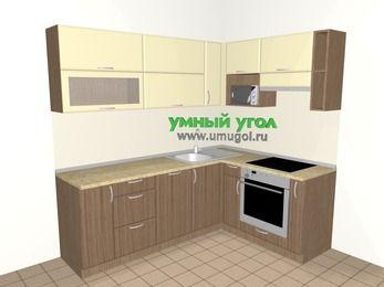 Угловая кухня МДФ матовый 6,2 м², 2200 на 1600 мм (зеркальный проект), Ваниль / Лиственница бронзовая, верхние модули 720 мм, посудомоечная машина, верхний модуль под свч, встроенный духовой шкаф