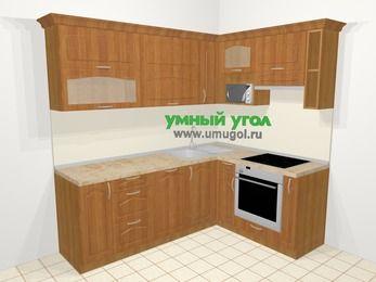 Угловая кухня МДФ матовый в классическом стиле 6,2 м², 2200 на 1600 мм (зеркальный проект), Вишня, верхние модули 720 мм, посудомоечная машина, верхний модуль под свч, встроенный духовой шкаф
