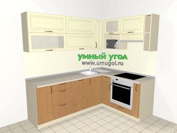 Угловая кухня из МДФ + ЛДСП 6,2 м², 2200 на 1600 мм (зеркальный проект), Ваниль / Ольха, верхние модули 720 мм, посудомоечная машина, верхний модуль под свч, встроенный духовой шкаф