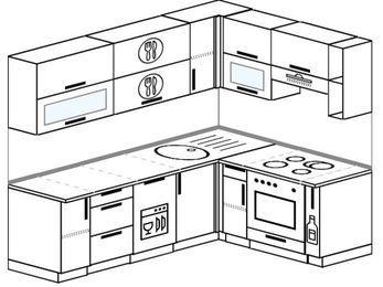 Планировка угловой кухни 6,2 м², 220 на 160 см (зеркальный проект): верхние модули 72 см, посудомоечная машина, встроенный духовой шкаф, корзина-бутылочница