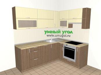 Угловая кухня МДФ матовый 6,2 м², 2200 на 1600 мм (зеркальный проект), Ваниль / Лиственница бронзовая, верхние модули 720 мм, посудомоечная машина, встроенный духовой шкаф