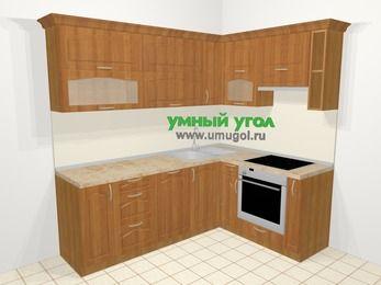 Угловая кухня МДФ матовый в классическом стиле 6,2 м², 2200 на 1600 мм (зеркальный проект), Вишня, верхние модули 720 мм, посудомоечная машина, встроенный духовой шкаф