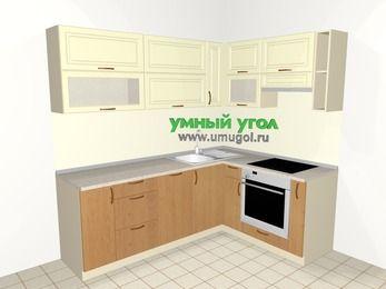 Угловая кухня из МДФ + ЛДСП 6,2 м², 2200 на 1600 мм (зеркальный проект), Ваниль / Ольха, верхние модули 720 мм, посудомоечная машина, встроенный духовой шкаф