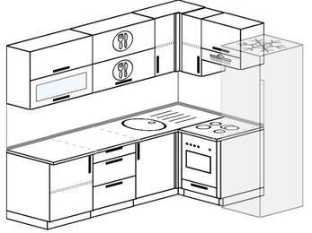 Планировка угловой кухни 6,2 м², 220 на 160 см (зеркальный проект): верхние модули 72 см, встроенный духовой шкаф, холодильник