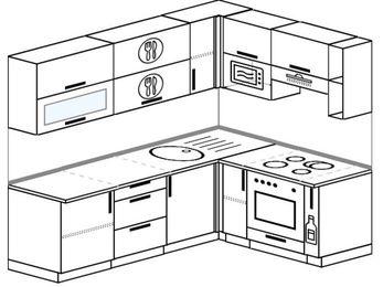 Планировка угловой кухни 6,2 м², 2200 на 1600 мм (зеркальный проект): верхние модули 720 мм, встроенный духовой шкаф, корзина-бутылочница, верхний модуль под свч