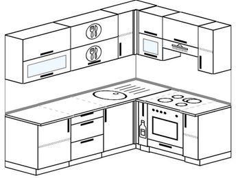 Угловая кухня 6,2 м² (2,2✕1,6 м), верхние модули 720 мм, встроенный духовой шкаф