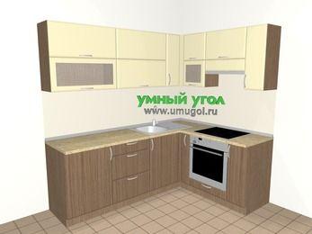 Угловая кухня МДФ матовый 6,2 м², 2200 на 1600 мм (зеркальный проект), Ваниль / Лиственница бронзовая, верхние модули 720 мм, встроенный духовой шкаф