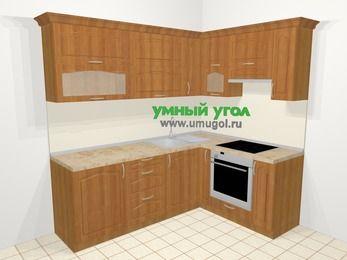 Угловая кухня МДФ матовый в классическом стиле 6,2 м², 2200 на 1600 мм (зеркальный проект), Вишня, верхние модули 720 мм, встроенный духовой шкаф