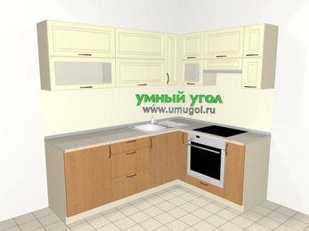 Угловая кухня из МДФ + ЛДСП 6,2 м², 2200 на 1600 мм (зеркальный проект), Ваниль / Ольха, верхние модули 720 мм, встроенный духовой шкаф
