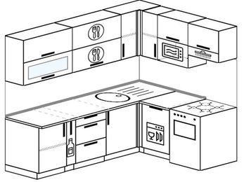 Угловая кухня 6,2 м² (2,2✕1,6 м), верхние модули 720 мм, посудомоечная машина, верхний модуль под свч, отдельно стоящая плита