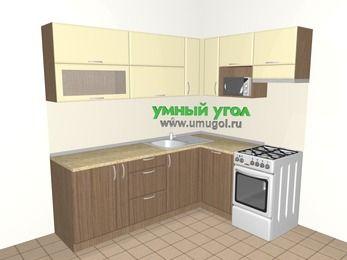 Угловая кухня МДФ матовый 6,2 м², 2200 на 1600 мм (зеркальный проект), Ваниль / Лиственница бронзовая, верхние модули 720 мм, посудомоечная машина, верхний модуль под свч, отдельно стоящая плита