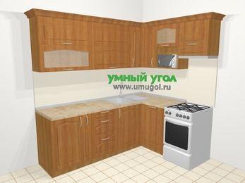 Угловая кухня МДФ матовый в классическом стиле 6,2 м², 2200 на 1600 мм (зеркальный проект), Вишня, верхние модули 720 мм, посудомоечная машина, верхний модуль под свч, отдельно стоящая плита