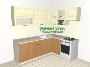 Угловая кухня из МДФ + ЛДСП 6,2 м², 2200 на 1600 мм (зеркальный проект), Ваниль / Ольха, верхние модули 720 мм, посудомоечная машина, верхний модуль под свч, отдельно стоящая плита