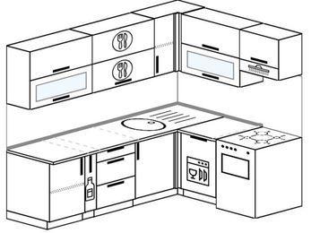 Планировка угловой кухни 6,2 м², 220 на 160 см (зеркальный проект): верхние модули 72 см, корзина-бутылочница, посудомоечная машина, отдельно стоящая плита