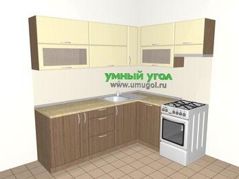 Угловая кухня МДФ матовый 6,2 м², 2200 на 1600 мм (зеркальный проект), Ваниль / Лиственница бронзовая, верхние модули 720 мм, посудомоечная машина, отдельно стоящая плита