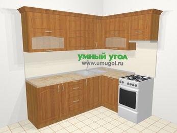 Угловая кухня МДФ матовый в классическом стиле 6,2 м², 2200 на 1600 мм (зеркальный проект), Вишня, верхние модули 720 мм, посудомоечная машина, отдельно стоящая плита