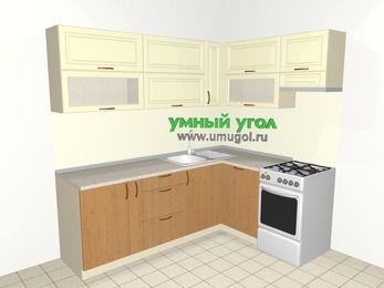 Угловая кухня из МДФ + ЛДСП 6,2 м², 2200 на 1600 мм (зеркальный проект), Ваниль / Ольха, верхние модули 720 мм, посудомоечная машина, отдельно стоящая плита