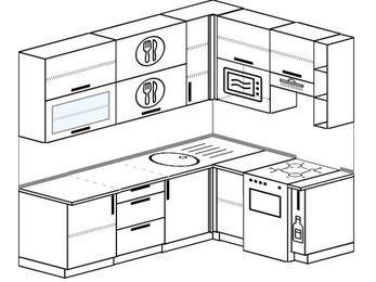 Угловая кухня 6,2 м² (2,2✕1,6 м), верхние модули 92 см, верхний модуль под свч, отдельно стоящая плита