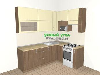 Угловая кухня МДФ матовый 6,2 м², 2200 на 1600 мм (зеркальный проект), Ваниль / Лиственница бронзовая, верхние модули 920 мм, верхний модуль под свч, отдельно стоящая плита