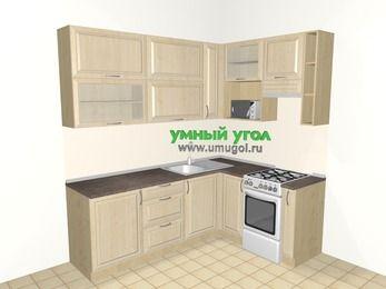Угловая кухня из массива дерева 6,2 м², 2200 на 1600 мм (зеркальный проект), Светло-коричневые оттенки, верхние модули 920 мм, верхний витринный модуль под свч, отдельно стоящая плита