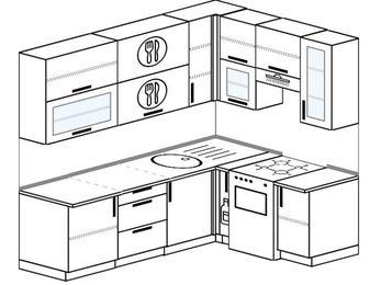 Угловая кухня 6,2 м² (2,2✕1,6 м), верхние модули 920 мм, отдельно стоящая плита