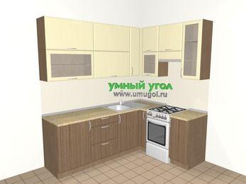 Угловая кухня МДФ матовый 6,2 м², 2200 на 1600 мм (зеркальный проект), Ваниль / Лиственница бронзовая, верхние модули 920 мм, отдельно стоящая плита