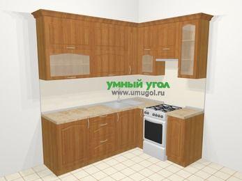 Угловая кухня МДФ матовый в классическом стиле 6,2 м², 2200 на 1600 мм (зеркальный проект), Вишня, верхние модули 920 мм, отдельно стоящая плита