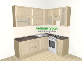 Угловая кухня из массива дерева 6,2 м², 2200 на 1600 мм (зеркальный проект), Светло-коричневые оттенки, верхние модули 920 мм, отдельно стоящая плита