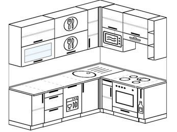 Угловая кухня 6,2 м² (2,2✕1,6 м), верхние модули 920 мм, посудомоечная машина, верхний витринный модуль под свч, встроенный духовой шкаф